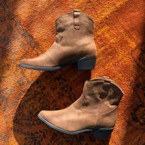 Brown JustFab cowboy boots